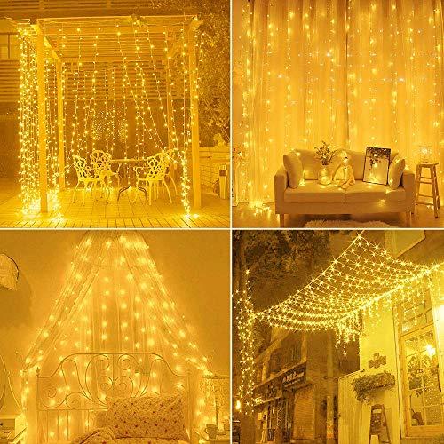 Cortina de luces,Cadena de Luces 3m x 3m 300LED luces de Navidad al Aire Libre Blanco Cálido Luz, IP55 Impermeable, Poder de conexión USB para Decoración Fiesta, Bodas (blanco cálido)
