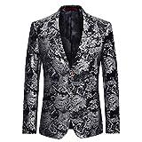 Allthemen Men's Casual Blazer Paisley Jacquard Suit Jackets Slim Fit Floral Print Stylish Blazer Coats Chic Jackets, 6XL, Silver