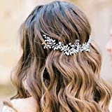 Handcess - Cerchietto per capelli da sposa con perle di cristallo, con foglie argentate, accessorio per capelli da sposa e da