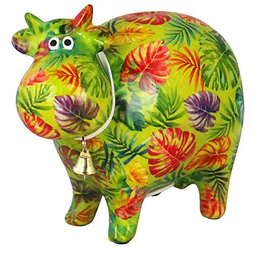 Pomme Pidou Hucha Vaca Bella | Hucha Vaca Original en Cerámica | Flores Púrpuras y Rosadas | Regalo Exclusivo con Caja de Regalo Gratis | Hecho a Mano con Amor