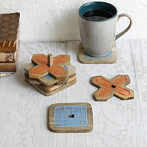 Diwali Gifts, Wooden Cross and Knots Coaster Holder Set of