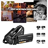 """Andoer HDV-V7 Plus 1080P Full HD 24MP Portable Digital Video Camera Camcorder Remote Control Infrared Night Vision Recorder 16X Zoom 3.0"""" Rotary LCD + External Microphone + 0.45X Wide Angle Lens"""