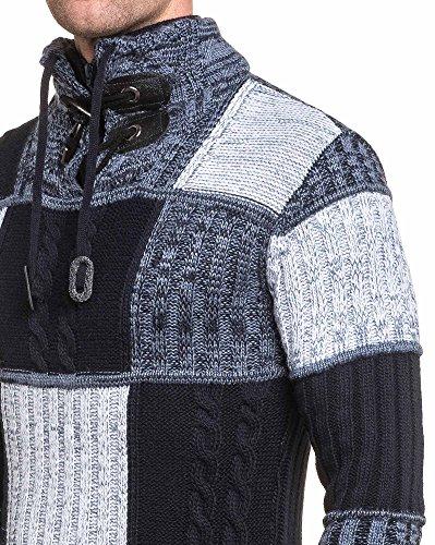 BLZ jeans - Pullover homme bleu maille torsadée Bleu