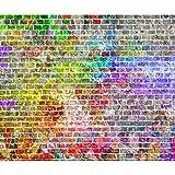 decomonkey Fototapete Ziegelmauer 3D Steinwand Steine 400x280 cm XXL Design Tapete Fototapeten Tapeten Wandtapete Wand Schlafzimmer Wohnzimmer Ziegelstein Ziegelwand Ziegel Bunt Grün Rot Gelb Braun