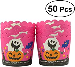 BESTONZON 50 Stücke Kuchenverpackungen Backen Kuchen Pappbecher Halloween Kürbis Ghost Verdicken Muffin Cup (Schwarz Boden und Rosy Pappbecher)