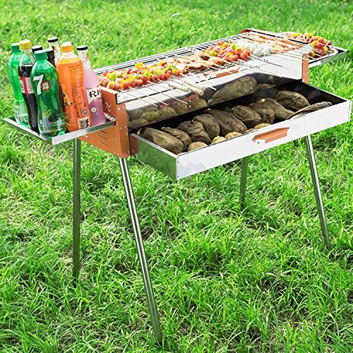 YANGLAN BBQ Grill, Edelstahl Grill, Outdoor/Home Tragbare Holzkohlegrill, Tragbare Klappgrill, BBQ Zubehör Set