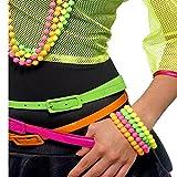 German Trendseller® 1 x bracelet de perles┃80`s style┃couleur fluo┃ kit de 4 pièces┃accessoire de déguisement┃carnaval┃