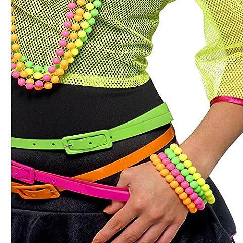 German Trendseller® - 80er Jahre Perlen Armbänder ┃ Neonfarben ┃ 4er Set ┃ Blickfang