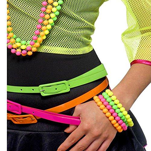 German Trendseller® - 80er Jahre Perlen Armbänder ┃ Neonfarben ┃ 4er Set ┃ (80er Jahre Kostüm Retro Girl)