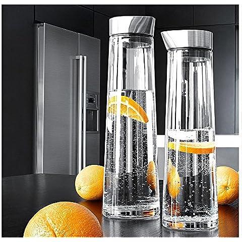 1L / 1.5L vaso de agua de la jarra de la jarra con tapa de acero inoxidable, fácil de verter, jarra del vidrio borosilicato té helado, agua caliente y fría de la jarra para agua, leche, jugo, té helado, limonada y bebidas con gas (1L)