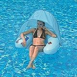 Jilong Water Sofa Canopy 103x96x38 cm Poolsessel mit Sonnenschutz-Dach und Getränkehalter Schwimmsessel Pool Lounge Wassersofa Wassersessel Luftmatratze Badeinsel, Süßwasser & Salzwasser geeignet