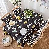 Telihome Thick Cotton Tischdecke Modernes minimalistisches Muster Rechteckige Tischdecke Stoff Home Decoration, Schwarz, 140 * 140