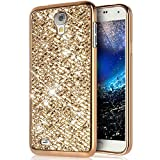 Galaxy S4 Mini Hülle,Surakey Luxus Glänzend Glitzer Strass Diamanten Handyhülle TPU Silikon Hülle Case Tasche Weiche Silikon Rückseite Glitzer Schutzhülle für Samsung Galaxy S4 Mini, Gold