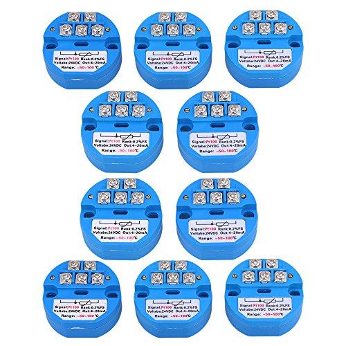 BQLZR Blau Kunststoff Metall DC24V-50-100 Grad Ausgang PT100 Temperatursensor Sender Pack von 10 (3d-sender)