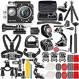 Neewer Caméra d'action G1 Ultra HD 4K 12 MP Etanche sous-Marine à 30m 170 Degrés Grand Angle WiFi Sports Caméra Capteur High-Tech avec 50-en-1 Kit d'Accessoires