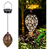 Tomshine Solar Lantern Light,Outdoor Hanging Garden Lights Metal Lamp for Patio, Patio Decor Metal Yard Art Garden…