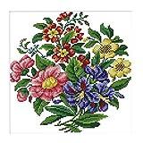 Baoblaze 1 Set Stickvorlage Kreuzstich Stickerei Stickbild Blumen vorgezeichnet Stickpackung Handarbeit DIY mit Anleitung - 28 x 28 cm 14 CT