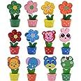 Portafoto creativo con base in legno, stile cartone animato, motivo: animali e fiori, decorazione per feste, con clip per big