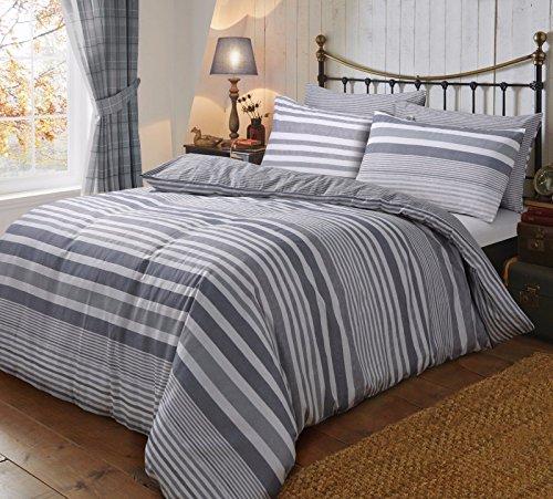 Santex, set di biancheria da letto in flanella a righe e tartan, flannel stripe grey, singolo