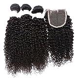 "YanT HAIR 8A Grade Peruvian Virgin Hair Kinky Curly Human Hair Weave 3 Bundles (12 14 16+10"" Free Part 4 * 4 Lace Closure, Natural Color)"