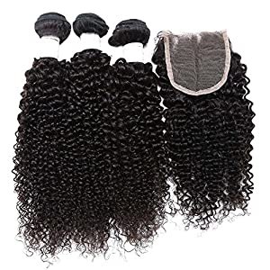 YanT HAIR 8A Grade Peruvian Virgin Hair Kinky Curly 16 18 20 Inches with 1 Piece 14 Inches 4*4 Lace Closure Middle Part Natural Color Pack of 4