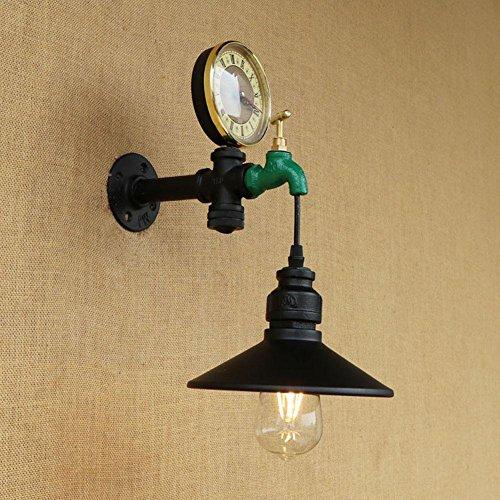 BJVB Industriale ferro navata retrò tubo acqua Ristorante Bar Art Cafe parete lampada lampada da tavolo Orologio parete Lampade