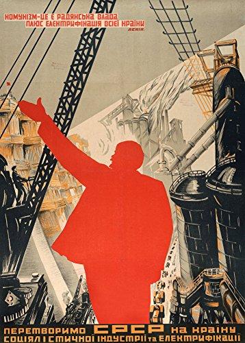 Kommunismus Russischen (Vintage Konstruktivismus Kommunismus bedeutet Sowjets (beliebtes zugelassen) Plus die Elektrifizierung der ganze Land. Let Us verwandeln die UdSSR durch Sozialistische Industrialisierung von Michail baljasnij, 1930, russisch Sowjetunion 250gsm, Hochglanz, A3, vervielfältigtes Poster)