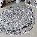 Teppich Kelim Kilim Grau Schwarz Vintage Blüte Rokoko rutschfester Badteppich waschbar pflegeleicht Modern, hochwertige Webung in Rund und Oval (Rund 120cm x 120cm)