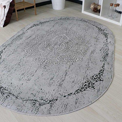 mynes Home Teppich Kelim Kilim Grau Schwarz Vintage Blüte Rokoko Rutschfester Badteppich waschbar pflegeleicht Modern, hochwertige Webung in Rund und Oval (Oval 120cm x 180cm) -