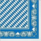 Sovie HORECA Servietten aus Tissue Bavaria 40cm x40cm / Einweg Servietten aus Tissue für Oktoberfest und Wiesn Party / 100 Stück (blau)