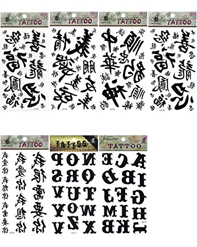 5 x Buchstaben Wörter Chinesische Schrift Glück temporäre Tattoos Fancy Kleid Tattoo Halloween Body Art Make-up (Halloween-make-up Pirate)