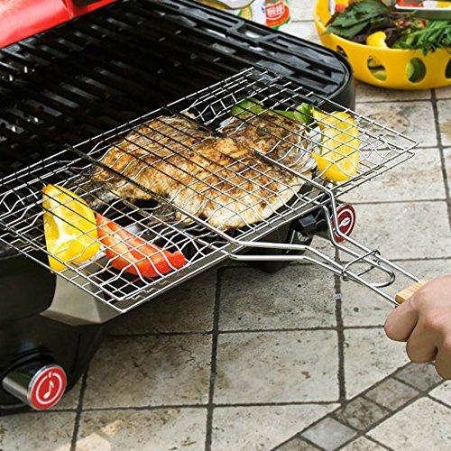 61fHBaqLW9L - B & C. Raum 304 Edelstahl Grillkorb Drahtgitter Für Fisch Steak BBQ Grill Zubehör Mit Holzgriff silber