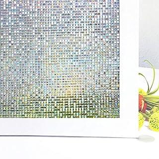 Aojia Fensterfolie 3D Bunt Dekofolie Sichtschutzfolie Statisch Selbsthaftend Privatsphäre Ohne Kleber Anti-UV Fensterfolie für Badezimmer, Duschkabine Sowie Türen Konferenzräume 45 x 200cm