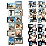 BR9725 Bilderrahmen, 12 Fotos Collage, Kunststoff Rahmen, Pappe Rückseite, Glas Vorderseite, zum Hängen im Querformat und Hochformat, silber
