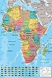 Up Close Poster Carte de l'Afrique avec Tous Les Drapeaux (61cm x 91,5cm) + 2 tringles Noires avec Suspension...