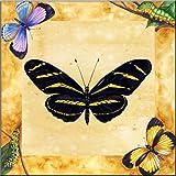 Fliesenwandbild - Zebra-Schmetterling mit Background - von Joan Heflin Rankin - Küche Aufkantung/Bad Dusche
