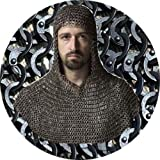 NASIR ALI Butted Chainmail Shirt and Coif Set XL Size Mild Steel Chain Mail Costume Armor