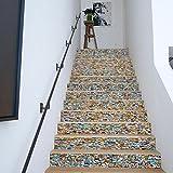 TIEZHI Rénovation à domicile 3D Pierre colorée Autocollants pour escaliers DIY Mural PVC Cuisine Décoration Imperméable Autocollant mural Fond d'écran Auto-adhésif , Colored Stone , 100*18cm*12pcs