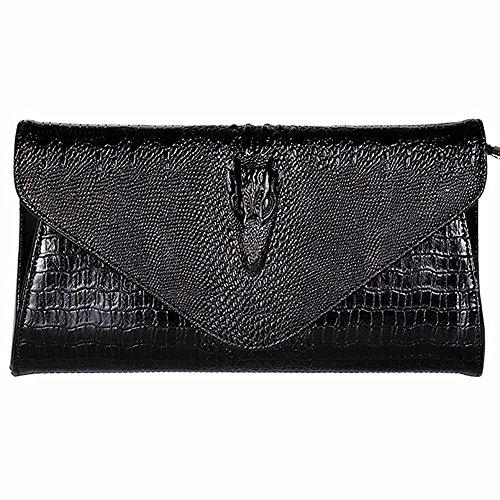 IACON Krokodil Textur Damen Clutch Tasche Leder Mini Geldbörse Brieftasche Handschlaufe Unterarmtasche Schultertasche Handtasche Damentasche Citytasche Abendtasche für Veranstaltung/Fest (Back)