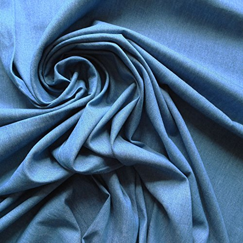 classic-mid-blue-100-cotton-denim-fabric-4oz-weight-washed-finish-similar-to-chambray-sold-by-the-me