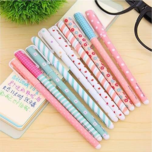 material para la escuela kawaii Bolígrafo de tinta de gel Cute dibujos animados coreano Pin Tipo Wholesale kawaii papelería, 10 Colors Set
