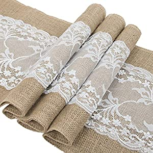 Heyjewels 30X275cm Jute Hessian Table Runner Vintage Burlap White Lace Natural Jute for Rustic Wedding Festival Event Outdoor Parting Sewed Edge Shabby Table Decoration (1pcs)