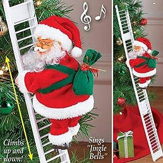 JZH Juguete eléctrico de la Escalera Que Sube de Papá Noel, muñeca Creativa de la Felpa de Santa Claus Que Sube y Baja con Música, Juguete de Adorno de estatuilla de música de Fiesta de Navidad