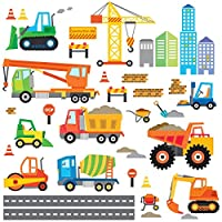 Decowall Construction Site Cars Island Kids Wall Stickers Wall Decals Peel and Stick Removable Wall Stickers for Kids Nursery Bedroom Living Room (1612/8012)