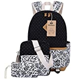 Canvas Backpack School Bags Set for Teens Girls, Casual Daypack + Shoulder Bag + Pencil Case (Black)
