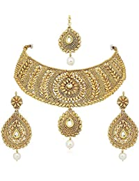 Youbella Jewellery Gold Plated Necklace Jewellery Sets With Earrings And Maang Tikka For Girls/Women