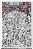 """Wildergorn Posters à Colorier de Jamie Courtier - """"Mine de la Tour"""" - affiche à colorier GEANTE 68cm x 100cm"""