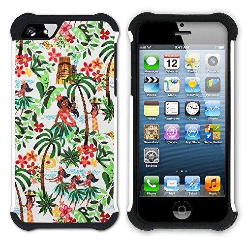 Graphic4You Hawaiisch Hawaii Postkarte Hart + Weiche Kratzfeste Hülle Case Schale Tasche Schutzhülle für Apple iPhone SE / 5 / 5S Design #14