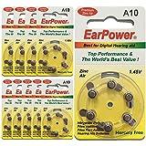 60 Piles Auditives EarPower Taille 10 / A10 (lot de 10 plaquettes) - Pour Appareils Auditifs / Aides Auditives - Sans Mercure - Voltage 1.45V / PR70 / Premium ZINC AIR / A10 / P10 /