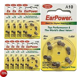 Earpower Batterie Acustiche Formato 10 (Pack da 60 Batterie)/Zinco Aria/P10/A10/Giallo/Batterie per Apparecchi Acustici